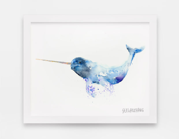 Nomadic Narwhal Watercolor Art Print - Alphabet in the Wild 1