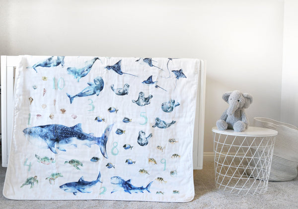 oceans animals and numbers blanket by Easy Sunday Club