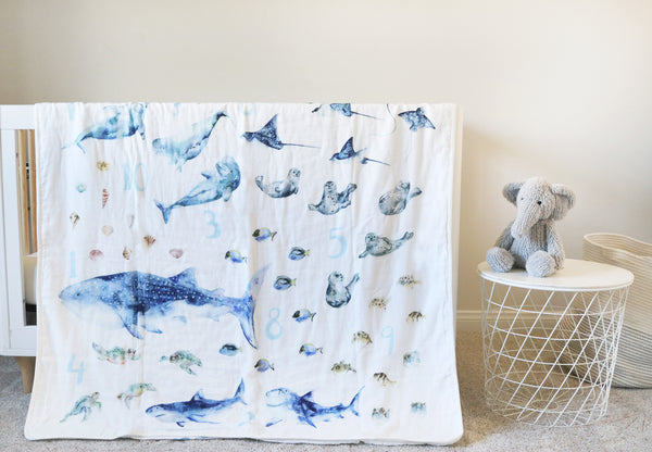 *SAMPLE SALE* Numbers Blanket with 1 to 10 Ocean Animals