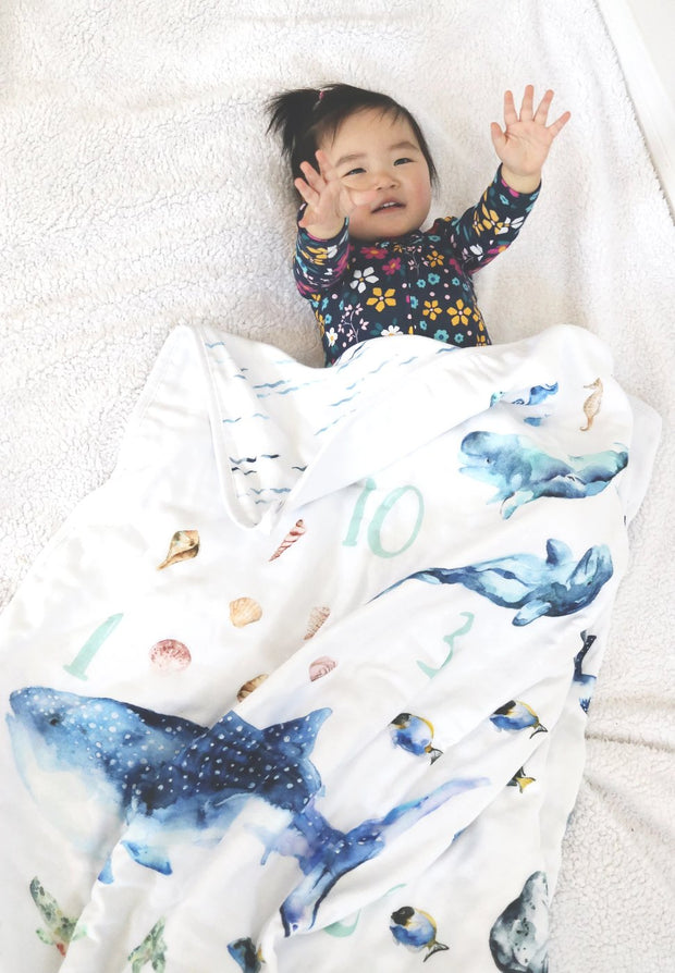 Baby and Toddler Blanket - Ocean Animals 1-10 Numbers 1