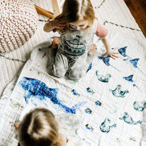 Baby and Toddler Blanket - Ocean Animals 1-10 Numbers