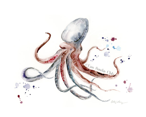octopus watercolor art print