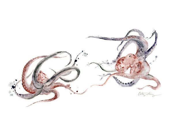 Limited Edition: Octopus Dance Watercolor Art Print | Under the Sea