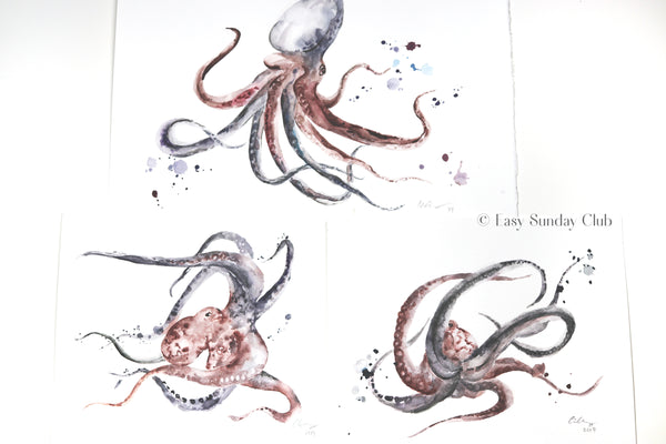 "Octopus ""Orlando"" - Original Watercolor Painting 