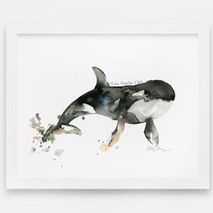 Orca Whale Watercolor Art Print | Under the Sea