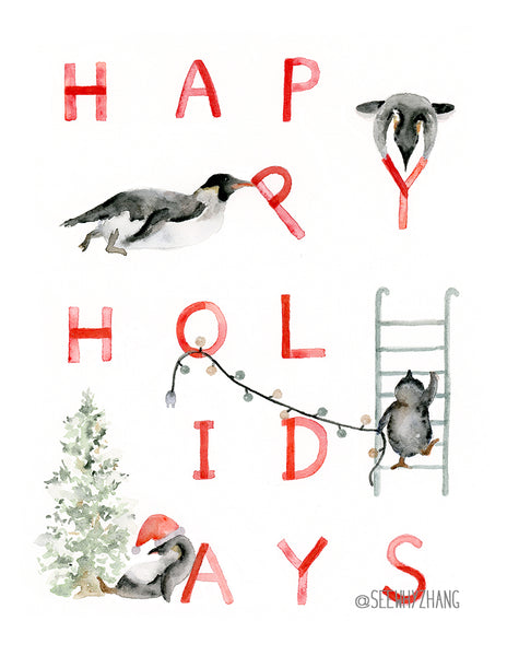 Drunk Penguin Happy Holidays Watercolor Art Print