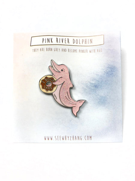 "Pink River Dolphin ""I Donut Care"" Glitter Enamel Pin"