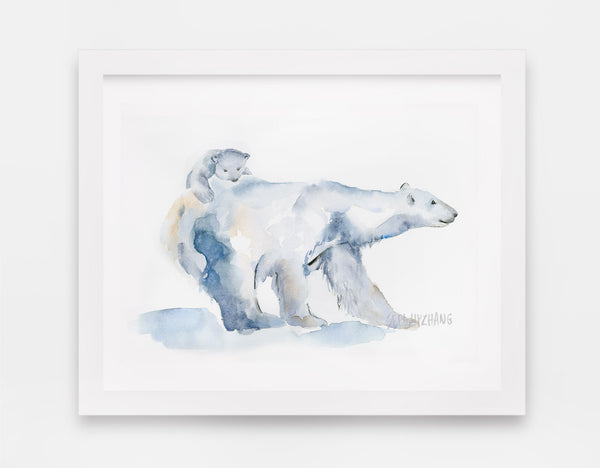 Polar Bear Mother and Cub Art Print