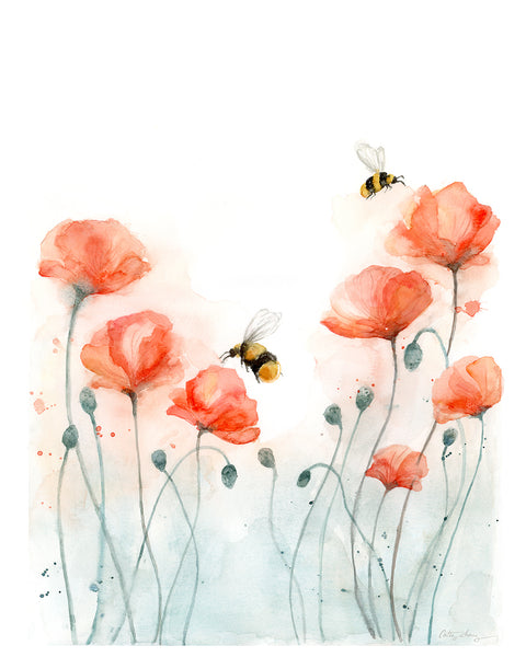 poppies and bees watercolor art print, poppy flower art print