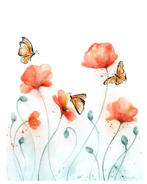 poppies and monarch butterflies watercolor art print