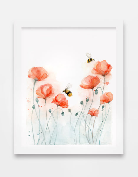 poppy watercolor art print with bumble bees