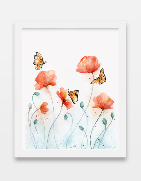 Poppies and Bees / Butterflies - Poppy Watercolor Art Print