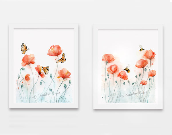 poppies and bees, butterflies watercolor art print
