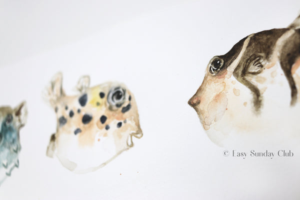 Pufferfish Original Watercolor Painting | Under the Sea