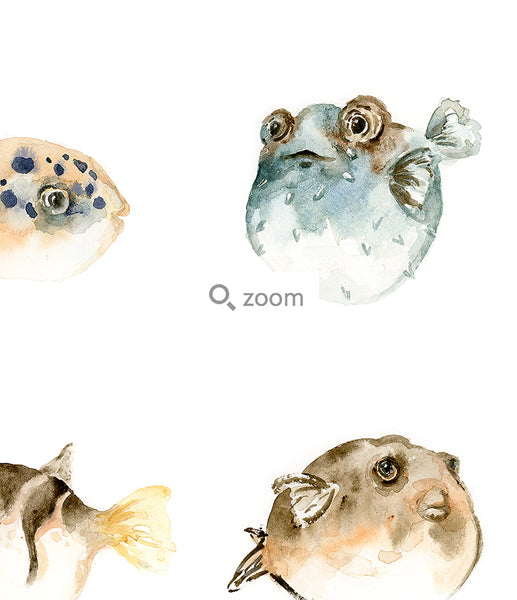 Pufferfish Watercolor Art Print | Under the Sea