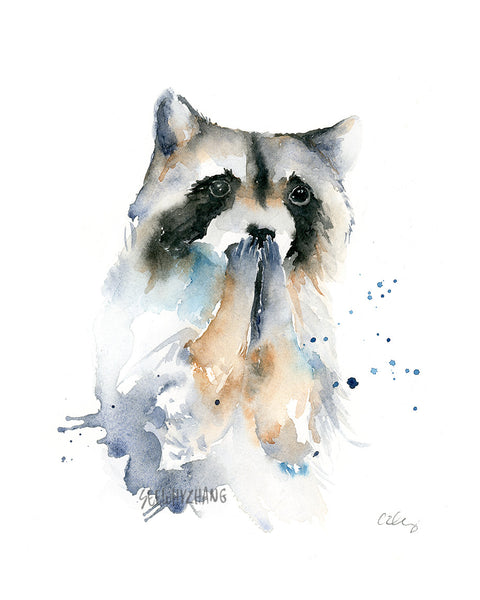 raccoon watercolor painting