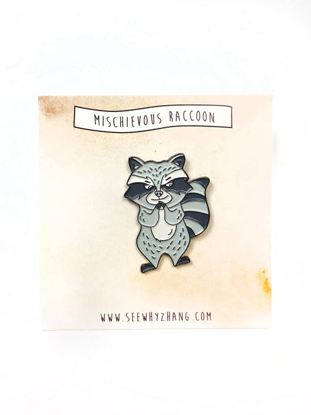 Mischievous Raccoon Enamel Pin