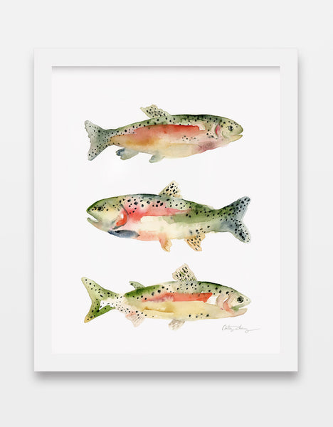 rainbow trout watercolor art print