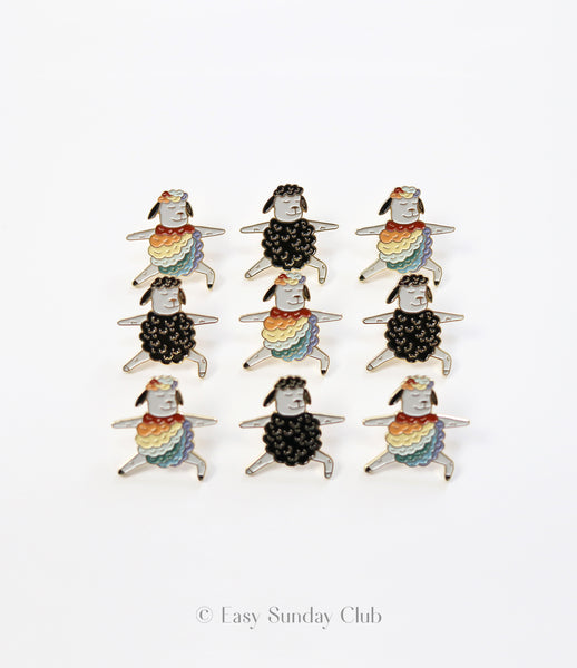 Yoga Enamel Pin - Black Sheep / Rainbow Sheep Warrior 2