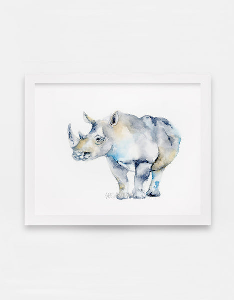 Riley the Rhino Watercolor Art Print