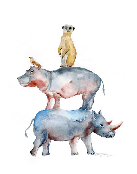 Rhino, Hippo and Meerkat Animal Stack - Watercolor Art Print