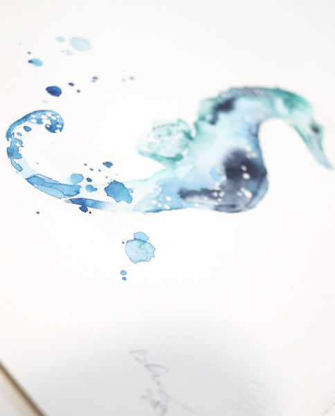 Sea Horse Original Watercolor Painting | Under the Sea