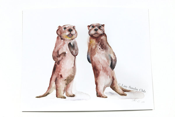"Sea Otters Original Watercolor Painting - 11""x14"""