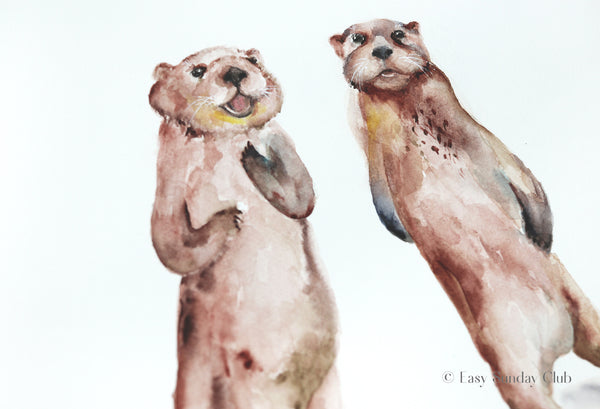 Sea Otters Original Watercolor Painting | Under the Sea