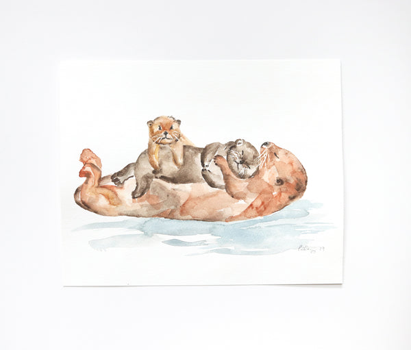 "Sea Otters Original Watercolor Painting - 8""x10"""