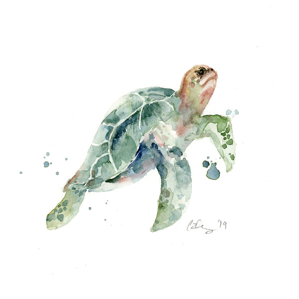 Limited Edition - Four Sea Turtles Watercolor Fine Art Print Set | Under the Sea
