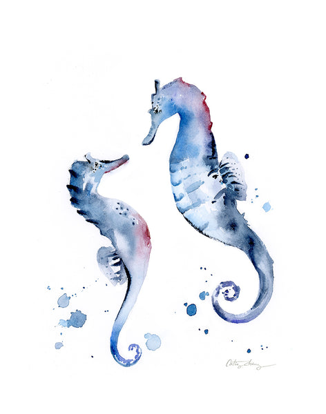 "Sea Horse Duo Original Watercolor Painting 8""x10"""