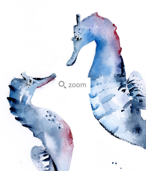 Limited Edition: Seahorse Duo Watercolor Fine Art Print | Under the Sea
