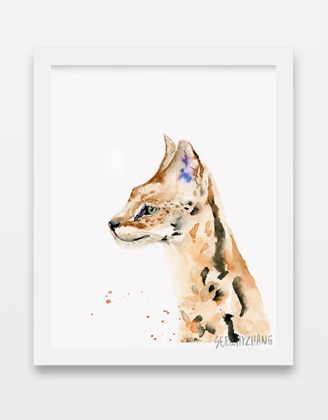 serval - wild cat watercolor art print