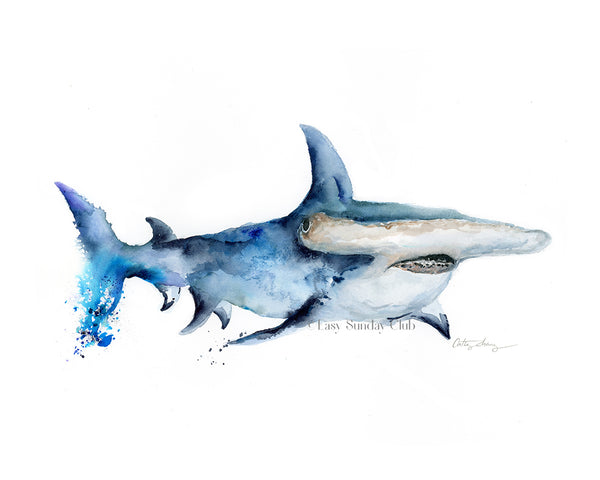 hammerhead shark watercolor art print