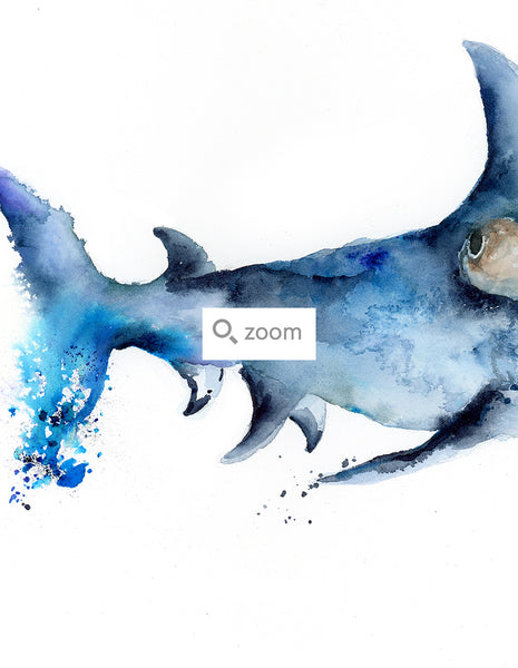 Hammerhead Shark - Watercolor Art Print | Under the Sea