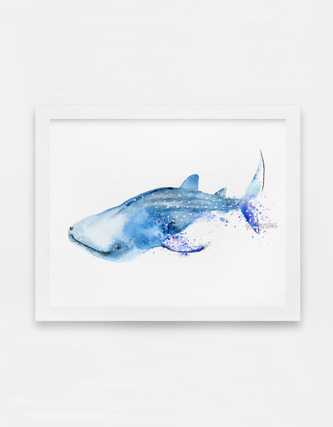 Sarcastic Whale Shark Watercolor Art Print - Alphabet in the Wild