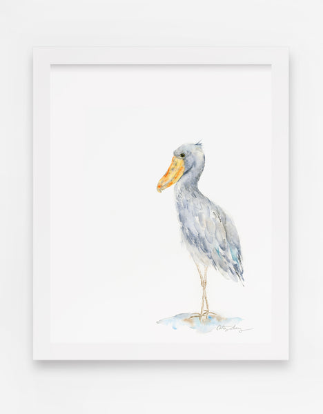 Shoebill Stork - Minimalist Watercolor Art Print