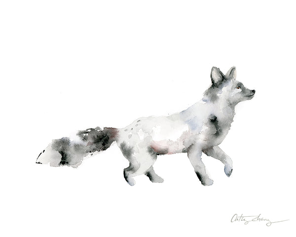 silver fox watercolor painting
