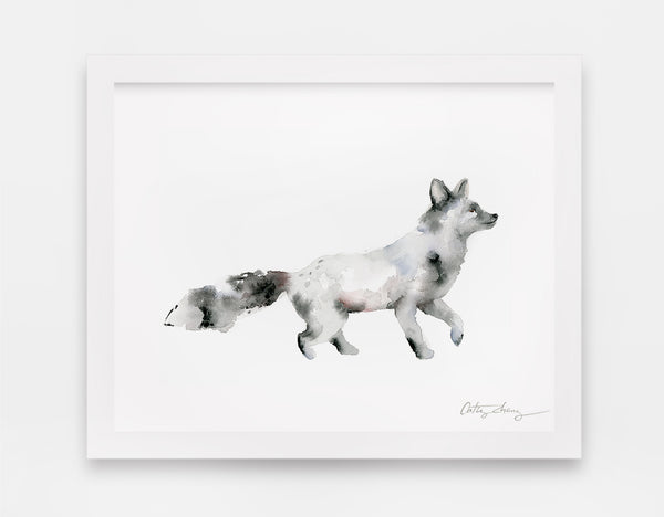 Silver Fox Watercolor Art Print