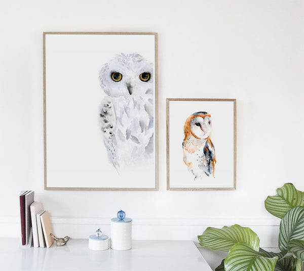 Stealthy Snowy Owl Art Print - Alphabet in the Wild