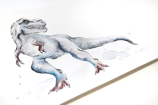 "TRex - Original Dinosaur Watercolor Painting - 8""x10"""