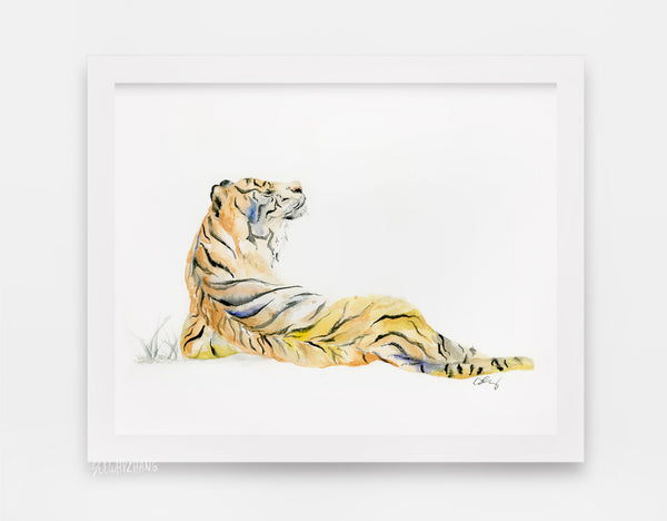 Sumatran Tiger Watercolor Art Print - Big Wild Cats