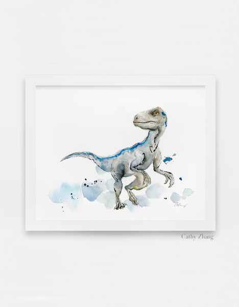 Blue the Velociraptor Watercolor Art Print