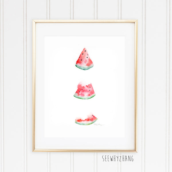 Watermelon Slice - Watercolor Art Print