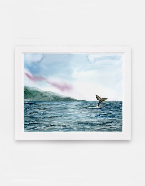 velvet blue ocean ripples and gray whale tail in distance watercolor landscape art print