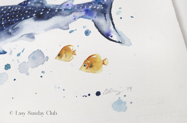 Whale Shark Original Watercolor Painting | Under the Sea