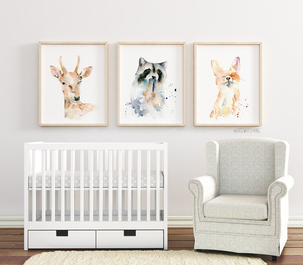 Woodland Animals Set of 3 - Deer, Raccoon, Fox - Watercolor Art Prints