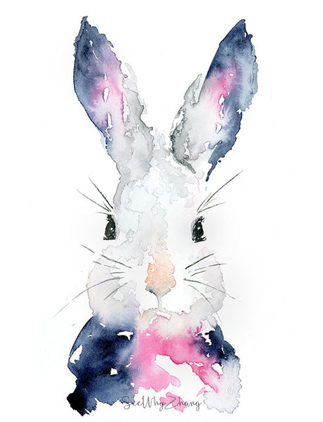"Original Bunny Watercolor Painting - 9""x12"""