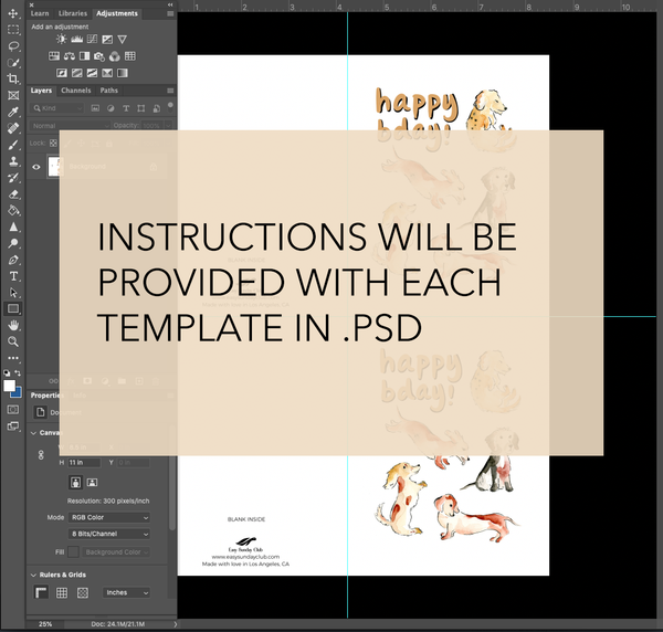 Template for DIY A2 Size Greeting Cards - Digital Download