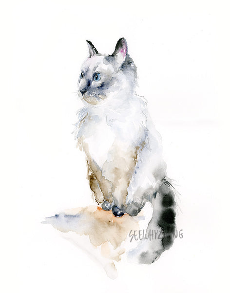 "Ragdoll Cat Original Watercolor Painting - 11""x14"""